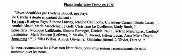 Ecole fille 1950 noms